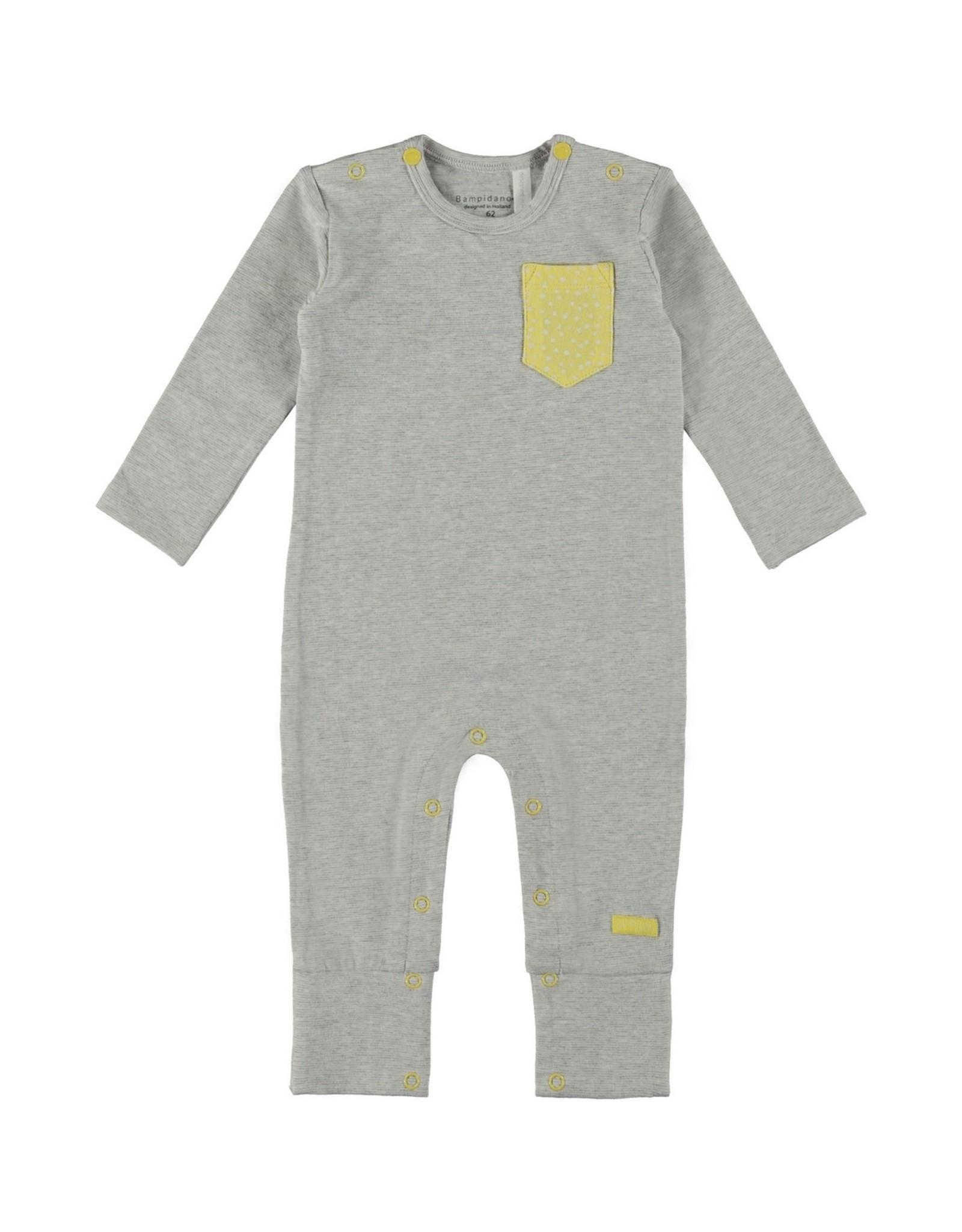 Little Bampidano Bampidano New Born Overall Melange Y/D + chest pocket GREY MELEE STRIPE