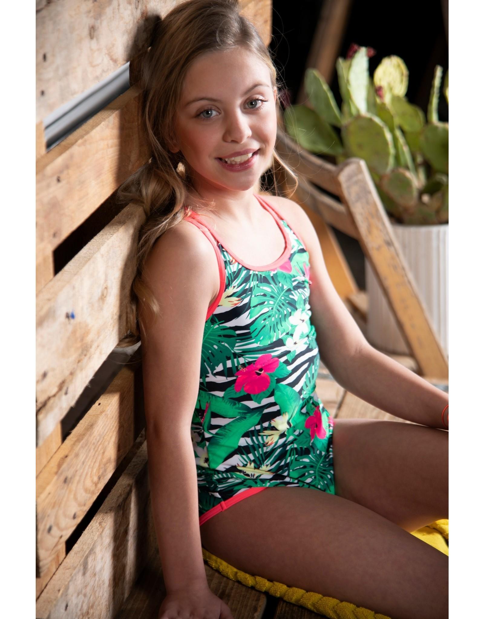 Just BEACH Just BEACH Girls Swimsuit FLOWER ZEBRA