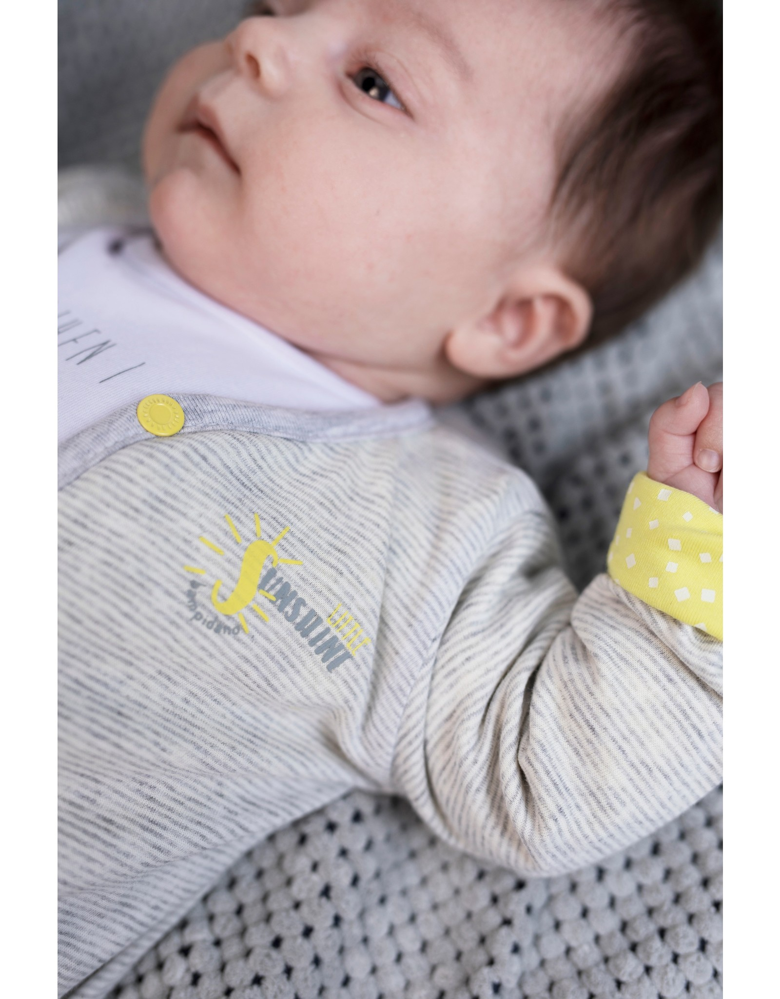 Little Bampidano Bampidano New Born Reversible Cardigan melange y/d GREY MELEE STRIPE