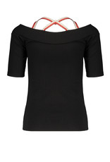 NoBell NoBell Kaya rib cold shoulder  t-shirt JET BLACK