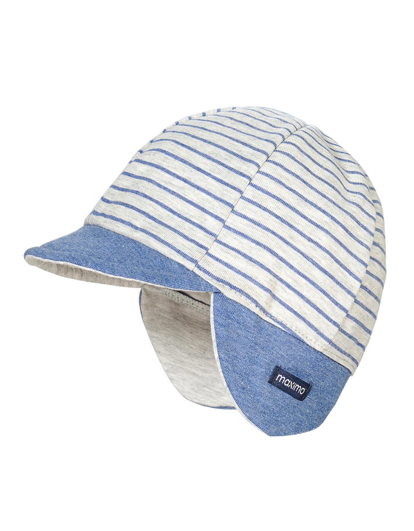 Maximo Maximo GOTS BABY BOY Cap grijs/blauw