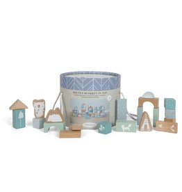Little Dutch Little Dutch houten Blokken in ton Adventure Blue
