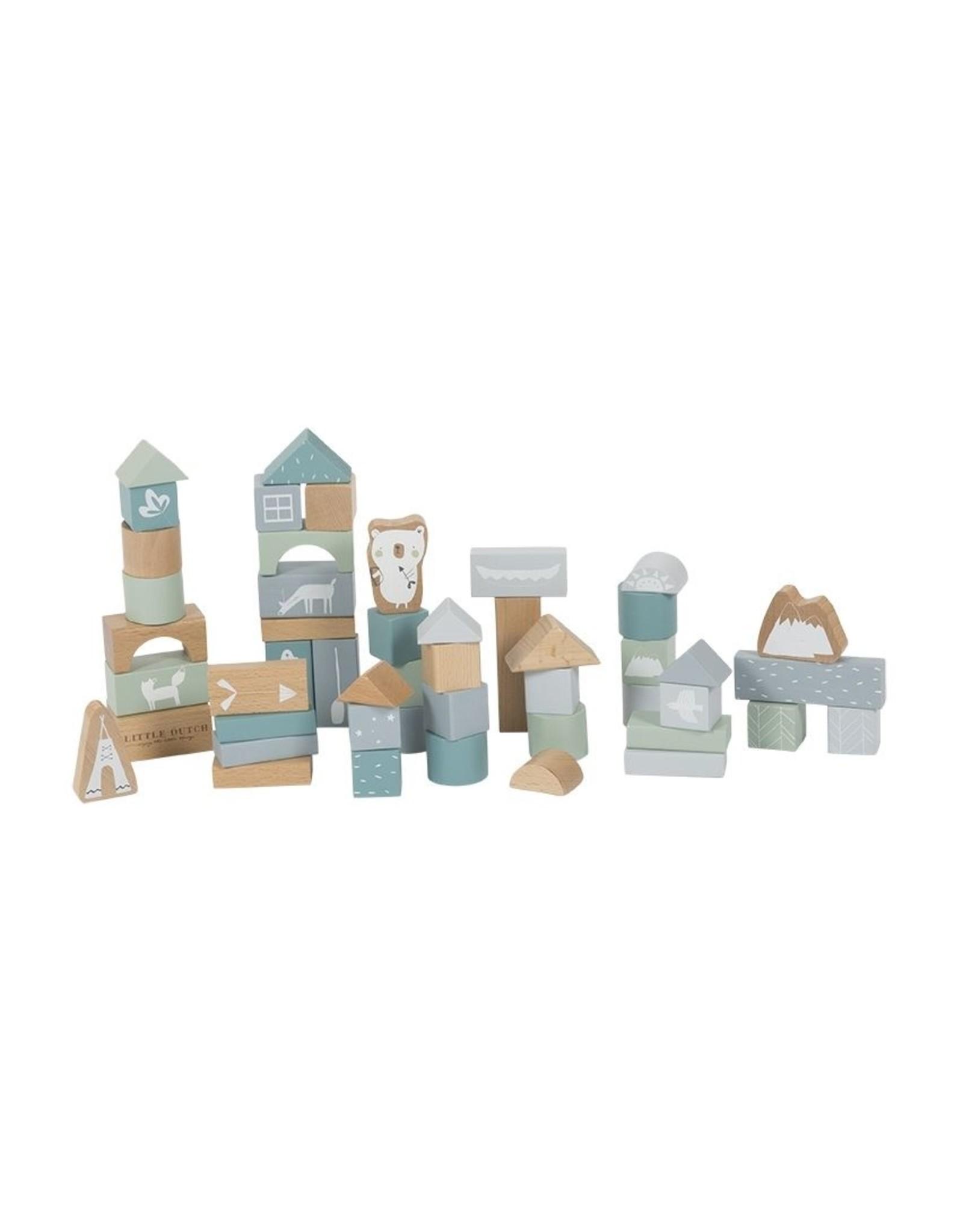 Little Dutch Little Dutch houten Blokken in ton Adventure Blue