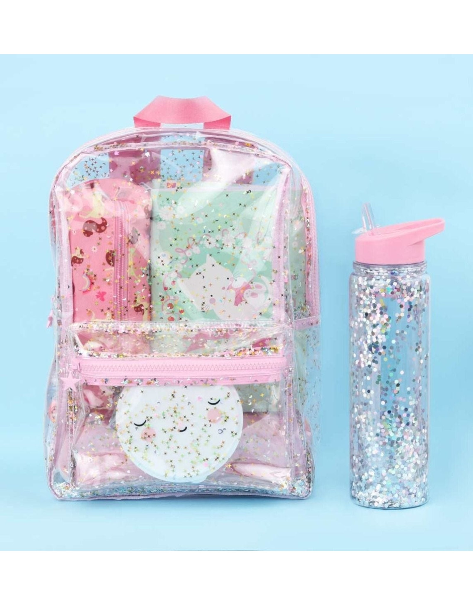 A little lovely company A Little Lovely Company- Rugzak Glitter Transparant/Roze