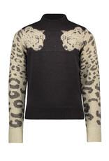 Like Flo Like Flo Girls Cat Knit Sweater-Navy
