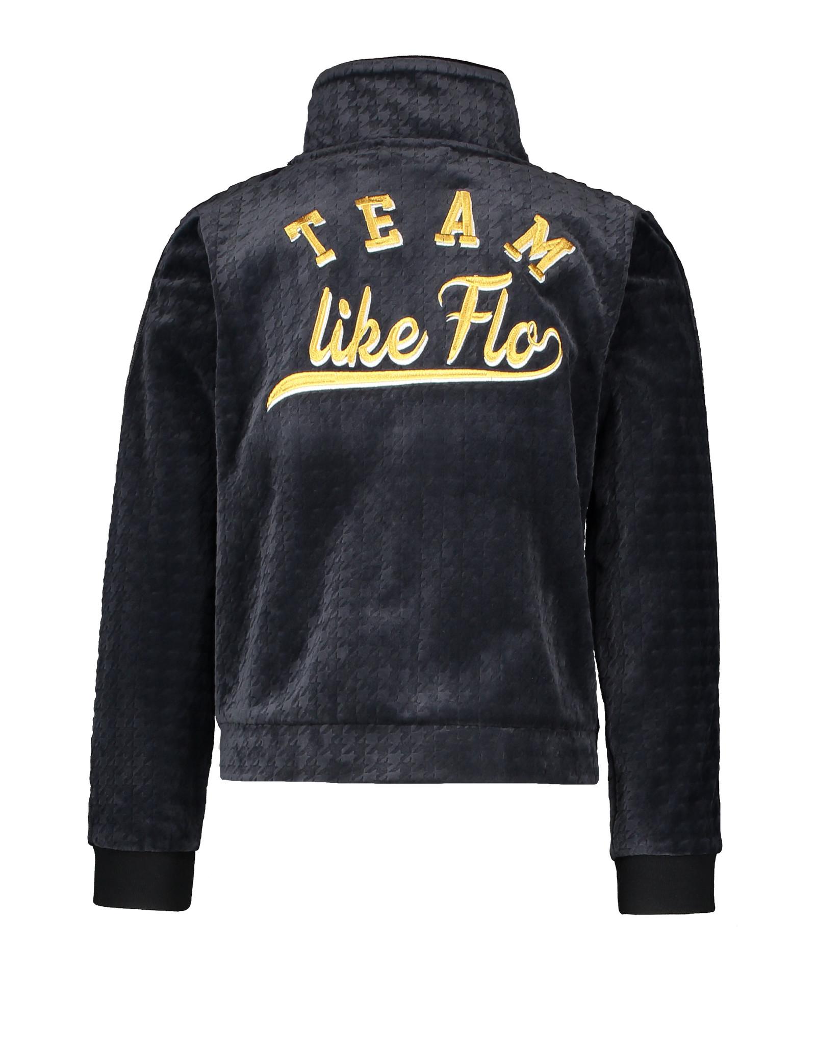 Like Flo Like Flo Girls PDP Relief Velvet Cardigan-Navy