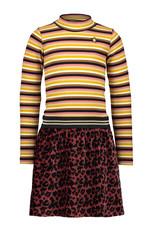 Like Flo Like Flo Girls Crincle Velvet Dress With Stripe Turtle neck-Rust