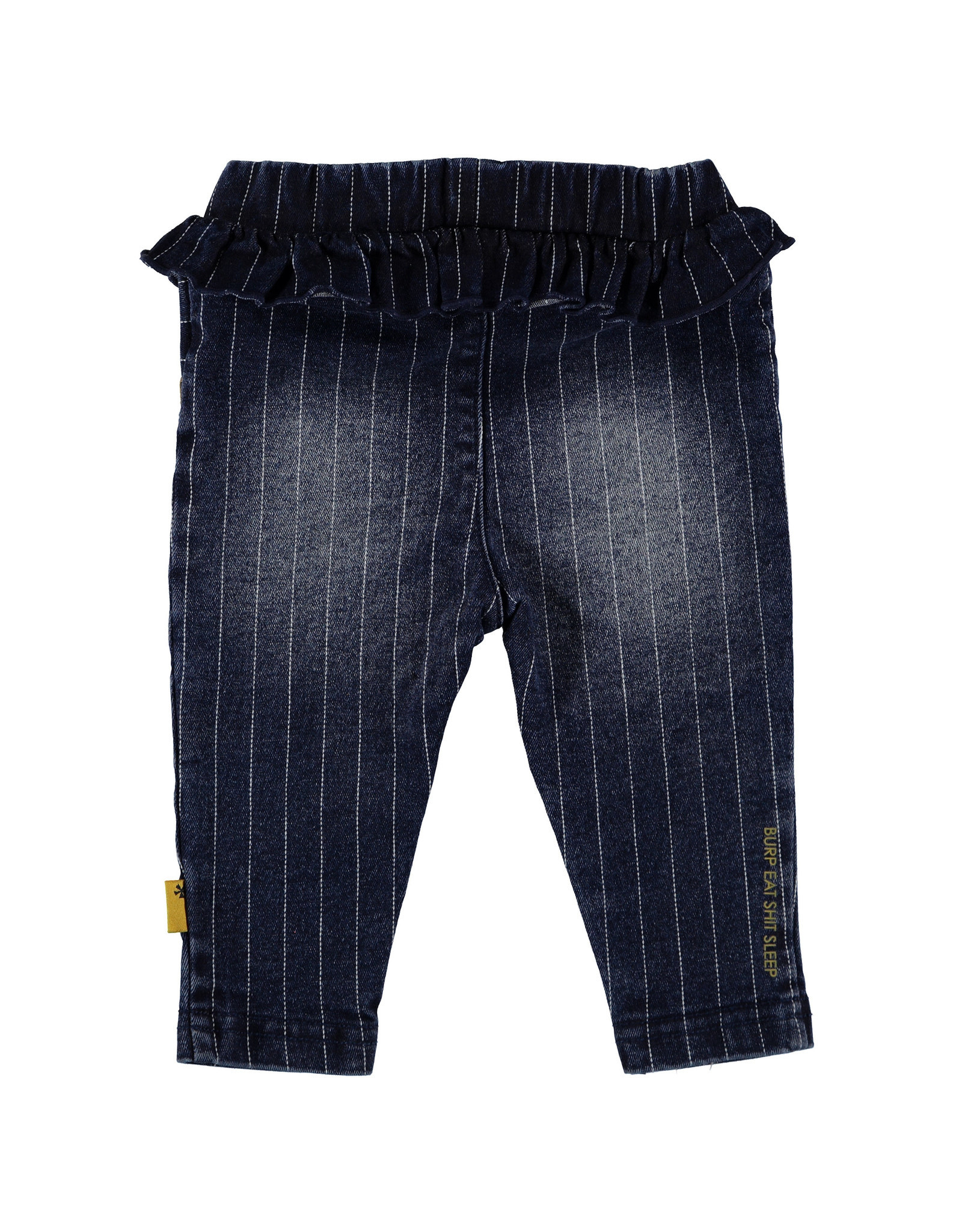 BESS BESS Pants Denim Striped Ruffle Stone Wash