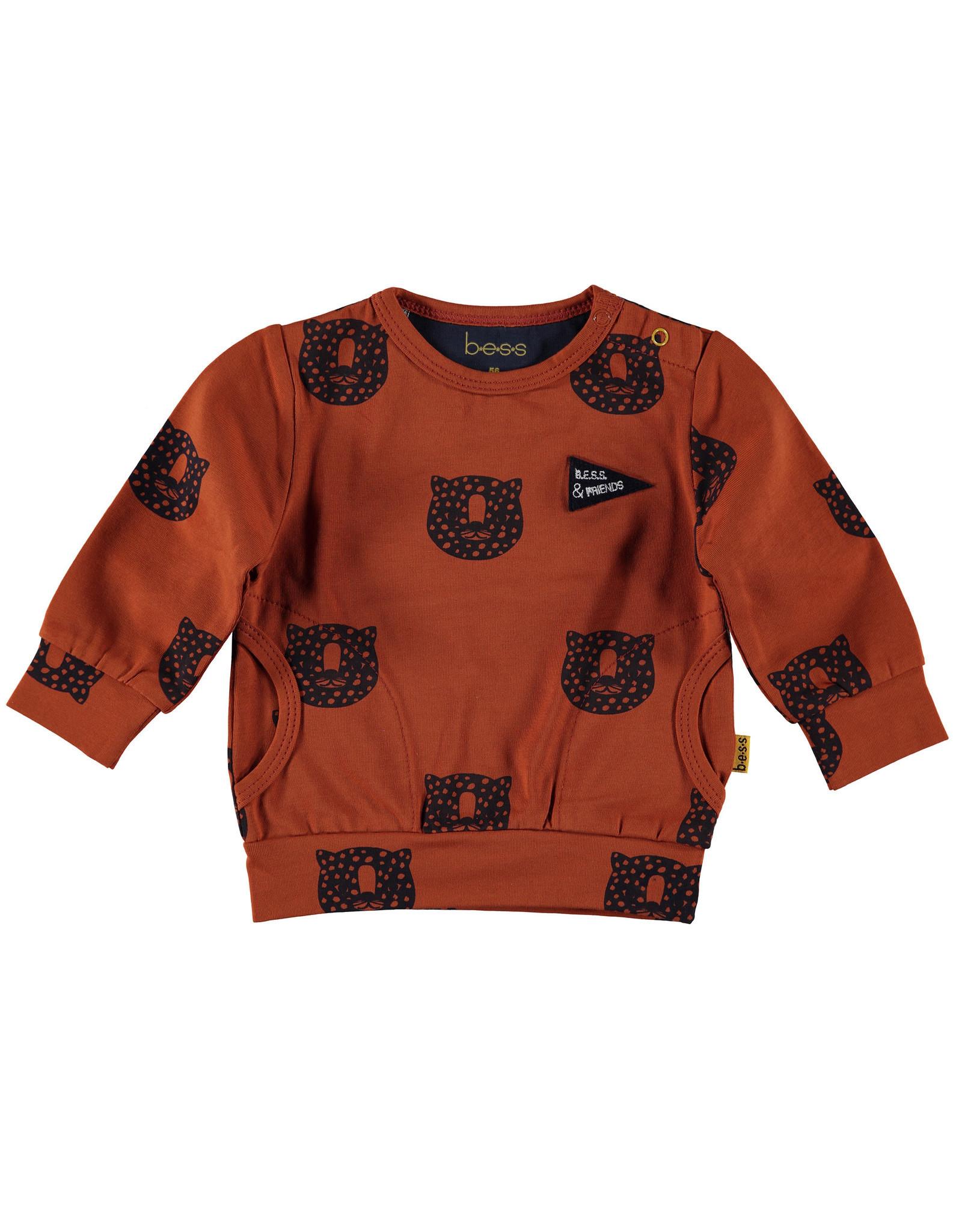 BESS BESS Sweater AOP Tiger Rusty