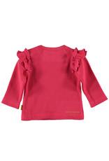 BESS BESS Shirt LS Waffle Ruffles Coral
