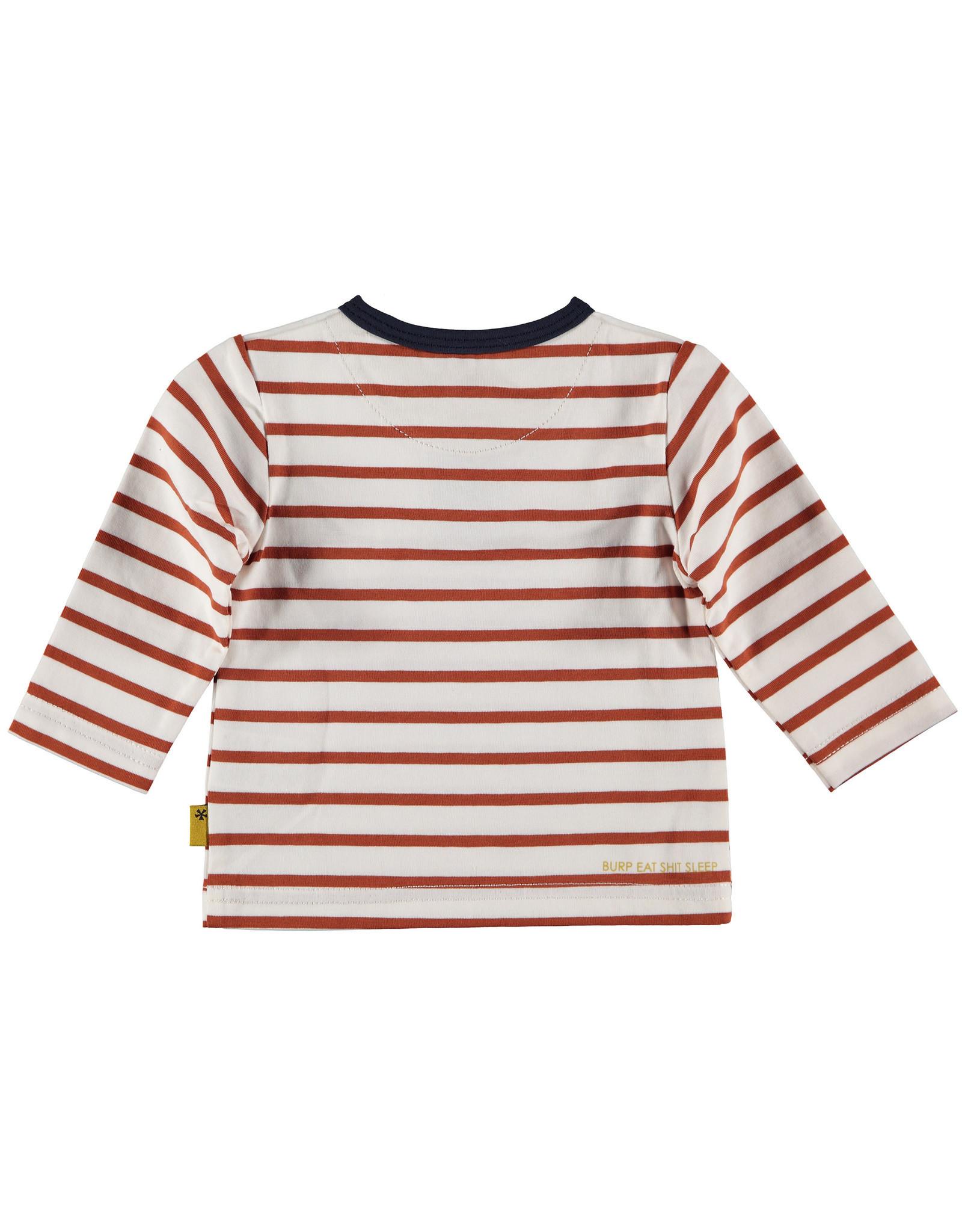 BESS BESS Shirt Henley LS Striped White