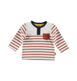 BESS BESS Shirt Henley LS Striped White