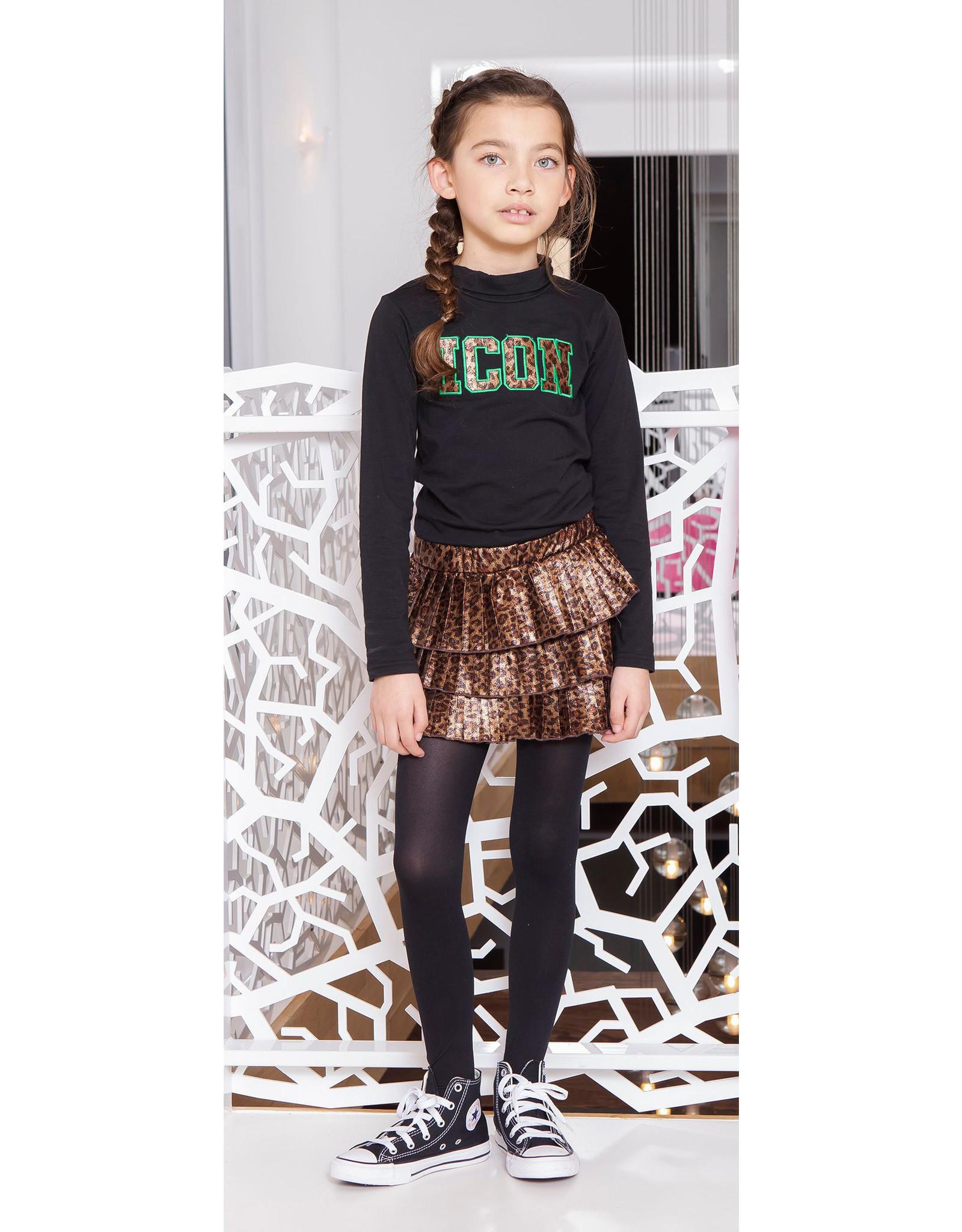 B.Nosy Girls Fake Panther Leather Plisse Skirt