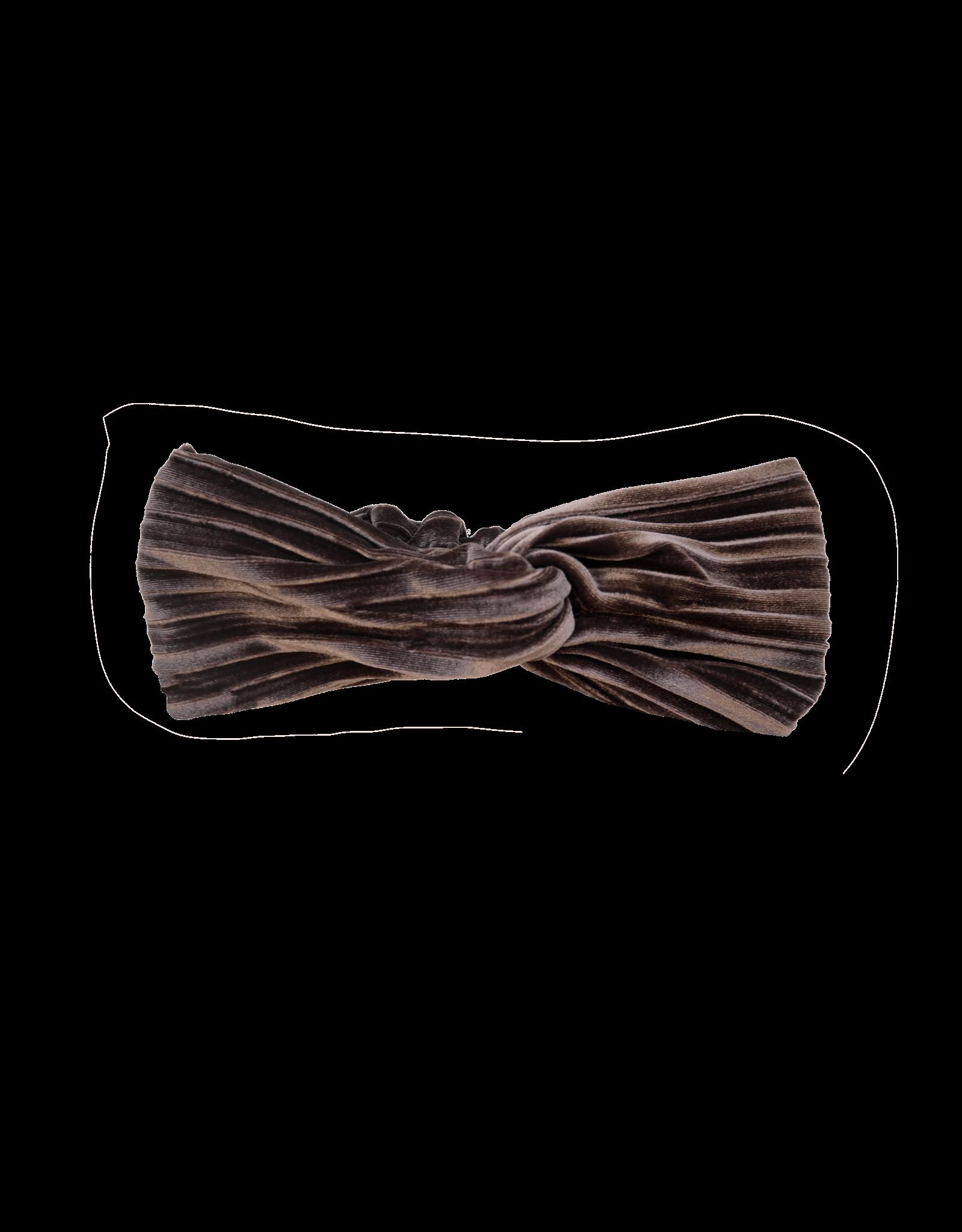 Sproet & Sprout Sproet & Sprout Turban Headband Velvet Pleat-Chocola