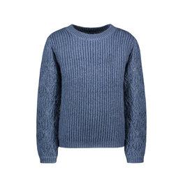 Like Flo Like Flo Girls Knitted Ajour Sweater Ice Blue
