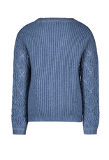 Like Flo Like Flo Girls Knitted Ajour Sweater Ice Blue