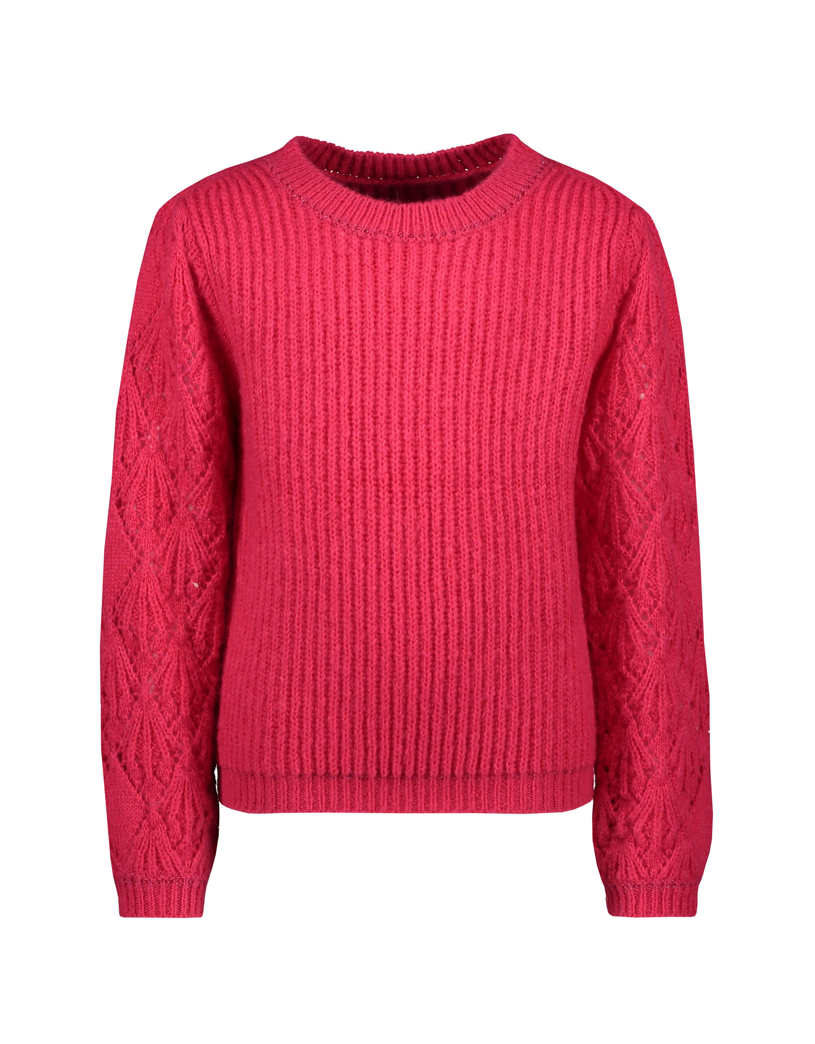 Like Flo Like Flo Girls Knitted Ajour Sweater Fuchsia