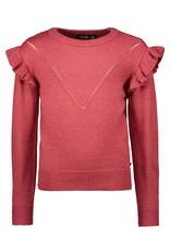 Like Flo Like Flo Girls Melee Knit Ruffle Sweater Bordeaux Melee