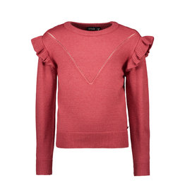 Like Flo Like Flo Girls Melee Knit Ruffle Sweater Bordeaux Melee