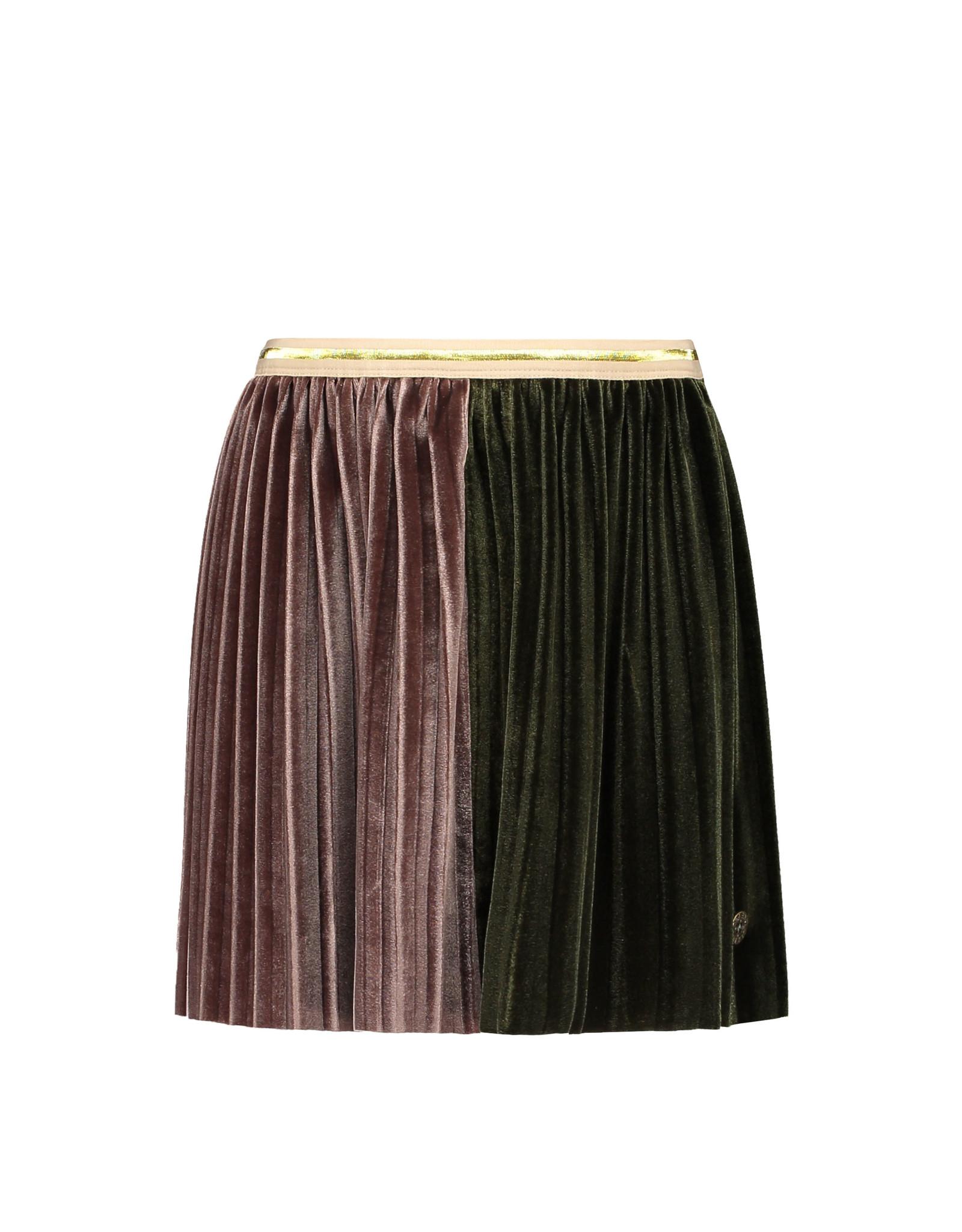 Like Flo Like Flo Girls 2 Colour Velvet Plisse Midi Skirt Army