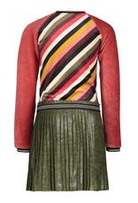 Like Flo Like Flo Girls Colour Block Velvet Dress With Plisse Skirt Stripe