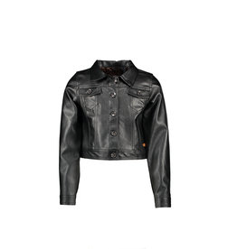 NONO NONO Denim Fake Leather Cardigan JET BLACK