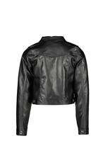 NONO NONO Denim Fake Leather Cardigan JET BLACK