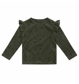 Your Wishes Your Wishes Splatters Ruffle Shoulder Top Desk Green