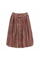 Your Wishes Your Wishes Rusty Stripes Button Long Skirt Dark Rust