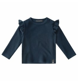 Your Wishes Your Wishes Waffle Ruffle Shoulder Top Navy