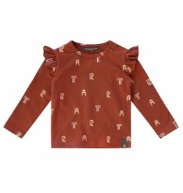 Your Wishes Your Art Wishes Ruffle Shoulder Top Rust