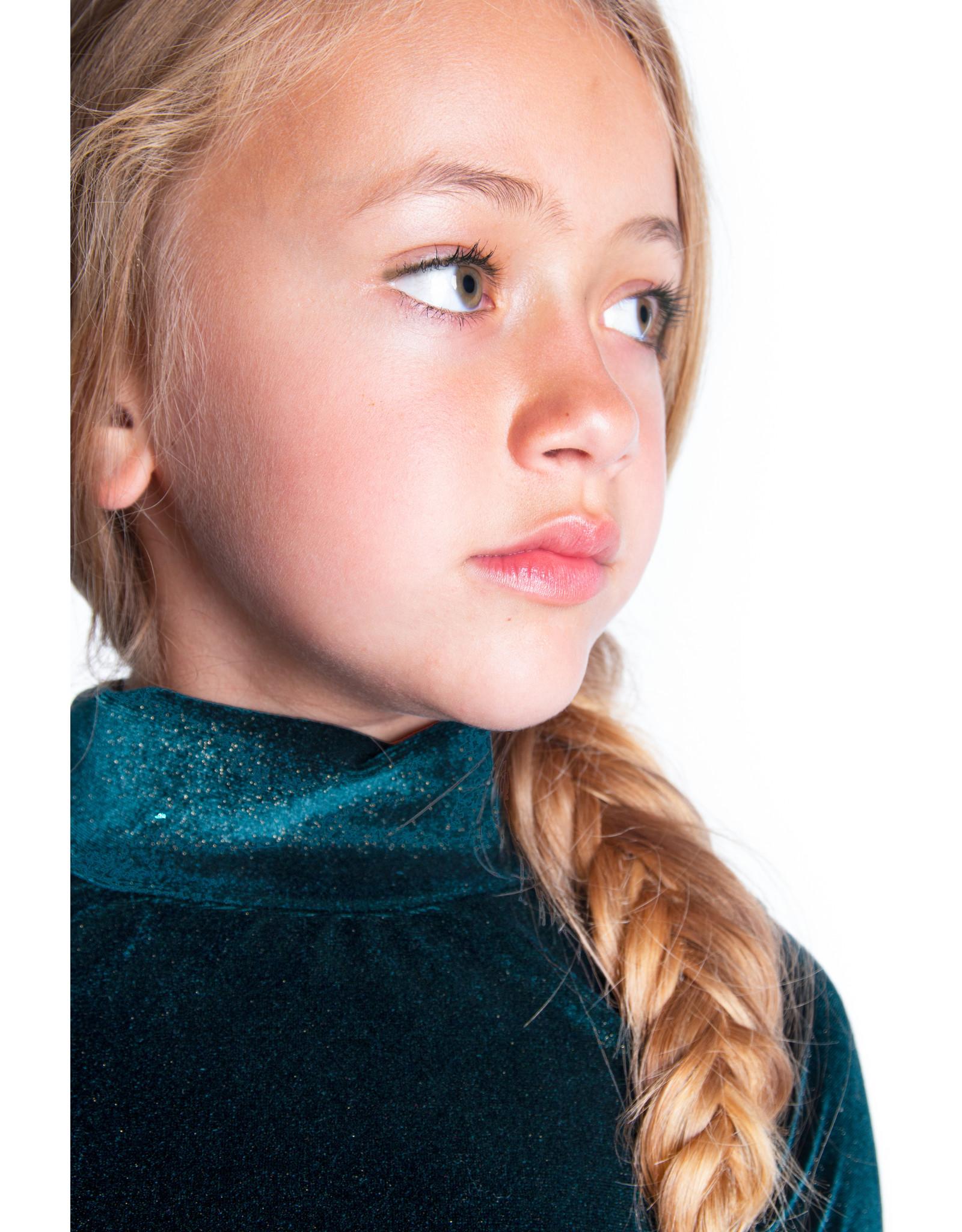 B.Nosy B.Nosy Girls Glitter Velvet T-shirt BOTANICAL GREEN