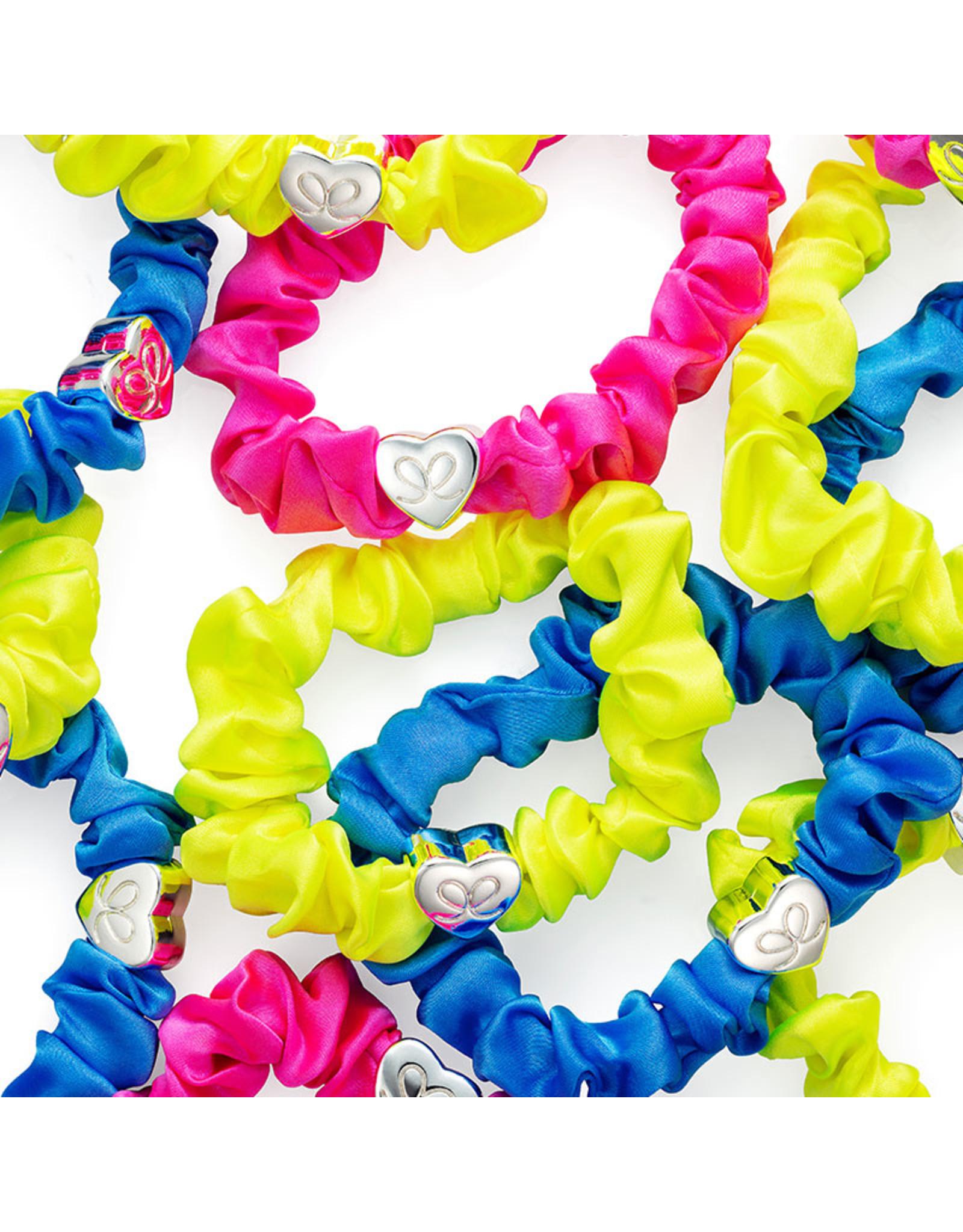 By Eloise By Eloise Silver Heart Silk Scrunchie