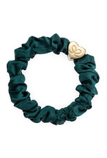 By Eloise By Eloise Gold Heart Silk Scrunchie Chive