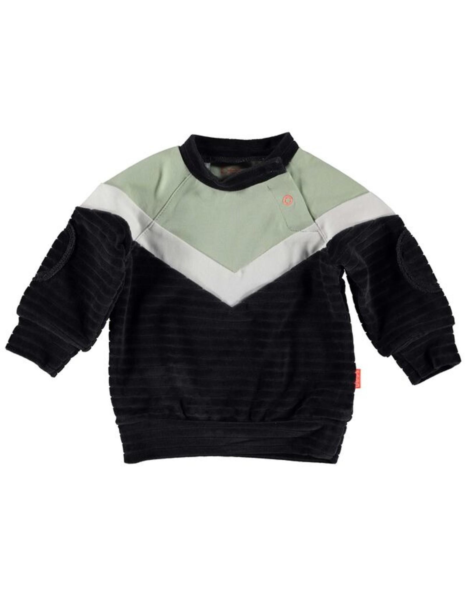 BESS BESS Sweater Velvet Colorblock Anthracite