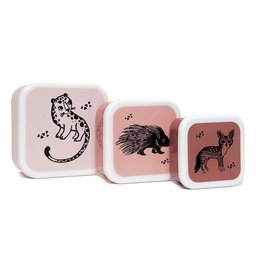 Petit Monkey Petit Monkey Lunchbox Set Black Animals Pink