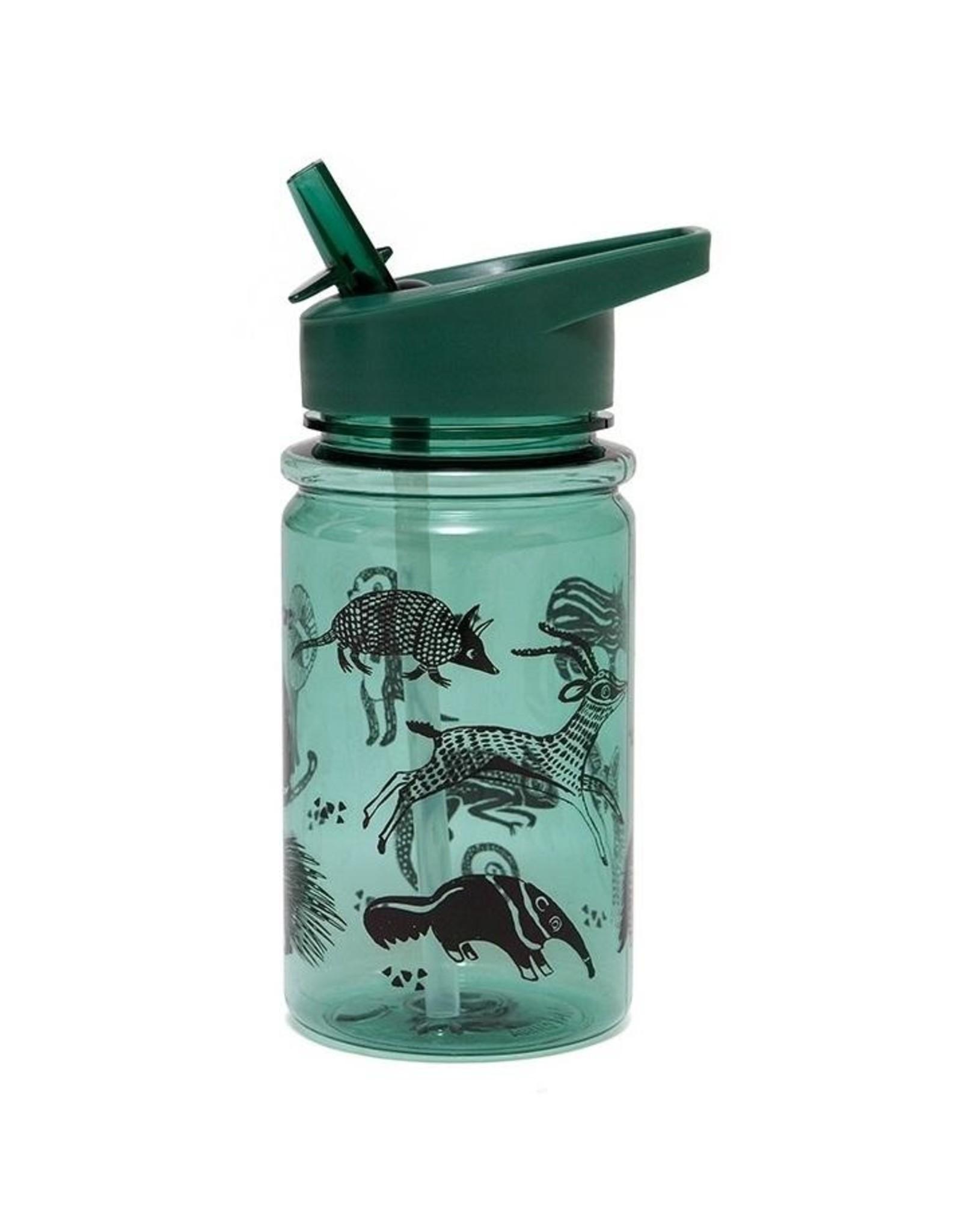 Petit Monkey Petit Monkey Drinking Bottle Black Animals Salie Green