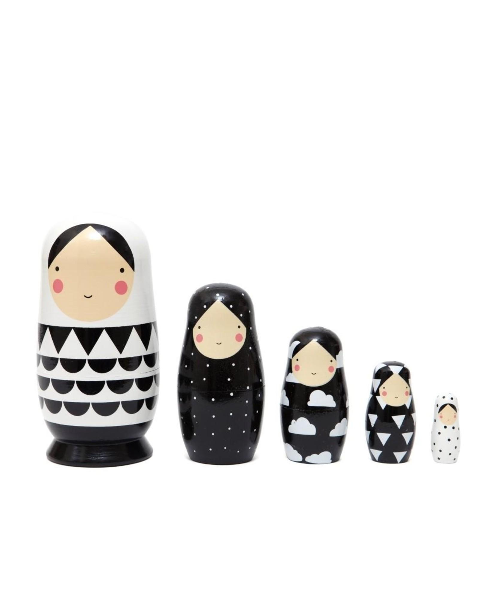 Petit Monkey Petit Monkey Nesting Dolls Black and White