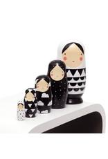 Petit Monkey Petit Monkey Nesting Dolls Black and White XL
