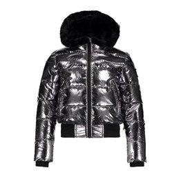 Super Rebel Super Rebel Basic Metalic Girls Fashion Jacket SILVER OXCID