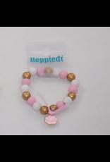 Heppiedi Heppiedi Armbandje Roze met Wolkje  Roze/Wit/Goud