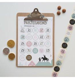Give-X Aftelkalender Sinterklaas op klembord met stickers