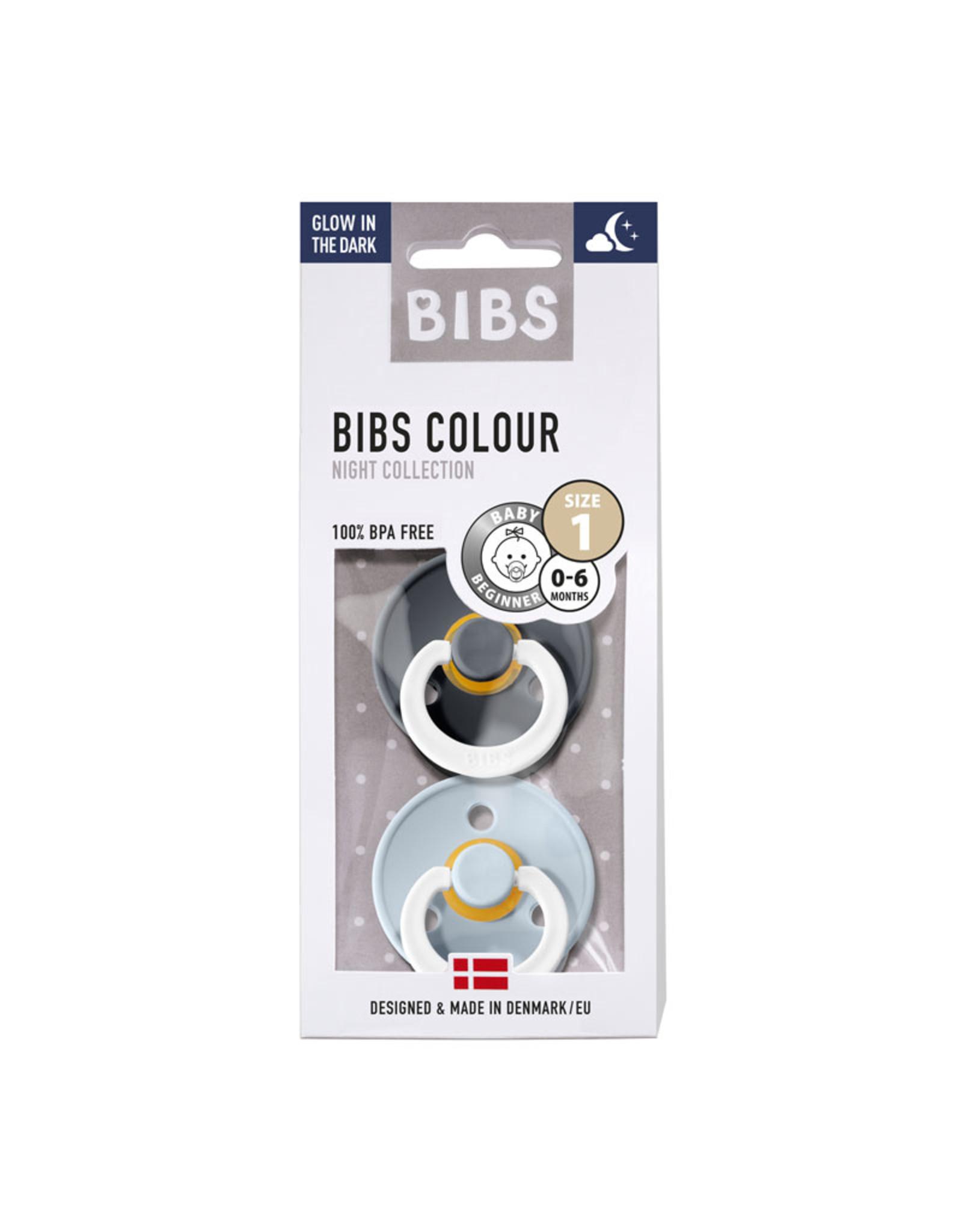 BIBS BIBS Fopspeen Duopack Glow in the dark Iron/Babyblue Maat 1