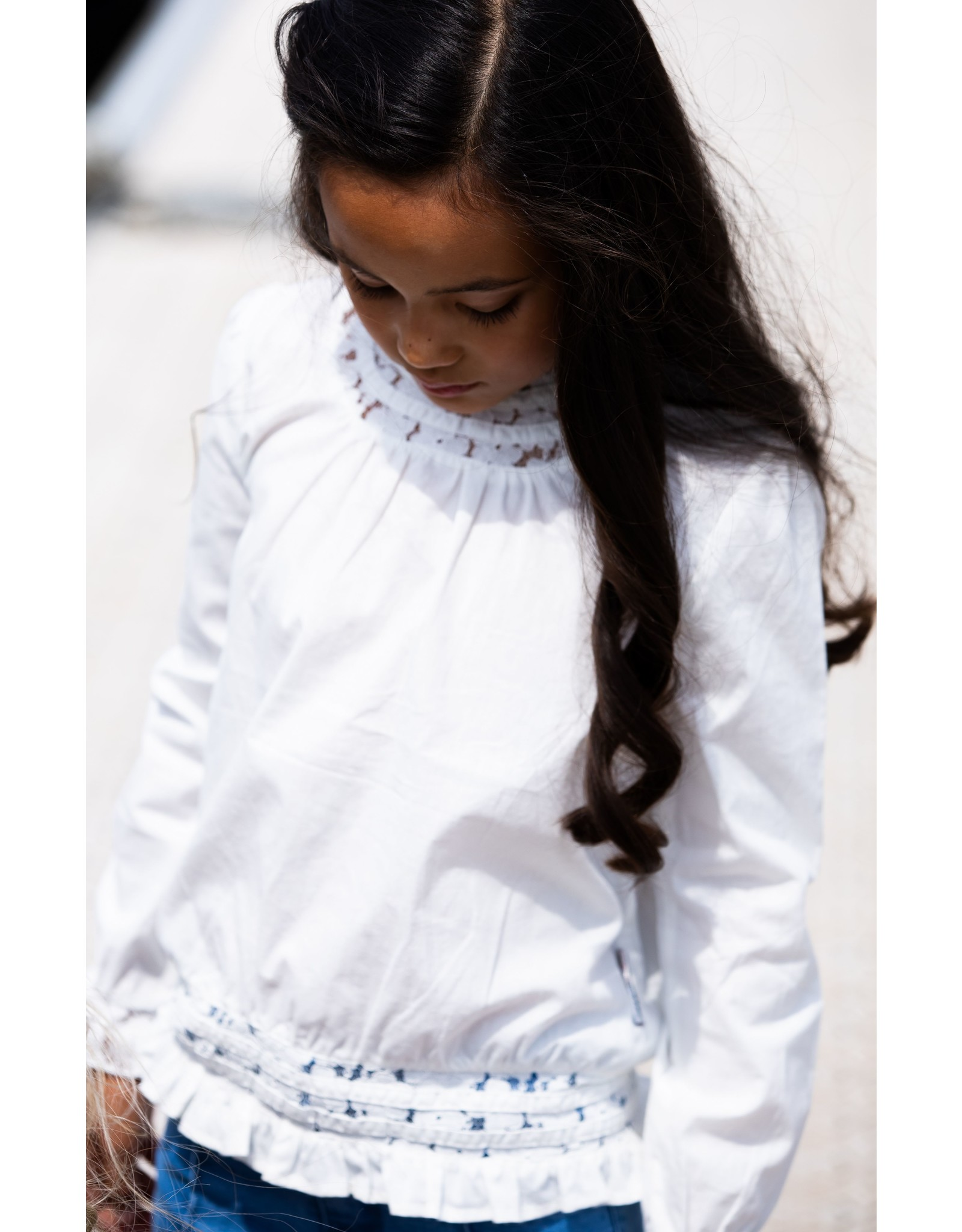 B.Nosy B. Nosy Girls White Blouse With Lace Tape