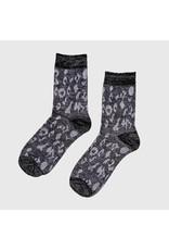 Pinned by K Pinned by K Glitter Socks Leopard Black One Size