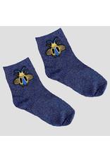 Pinned by K Pinned by K Glitter Socks Blue Bee