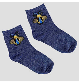 Pinned by K Pinned by K Glitter Socks Blue Bee