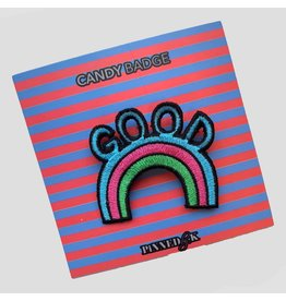 Pinned by K Pinned by K Candy Badge Good Rainbow Multicolor