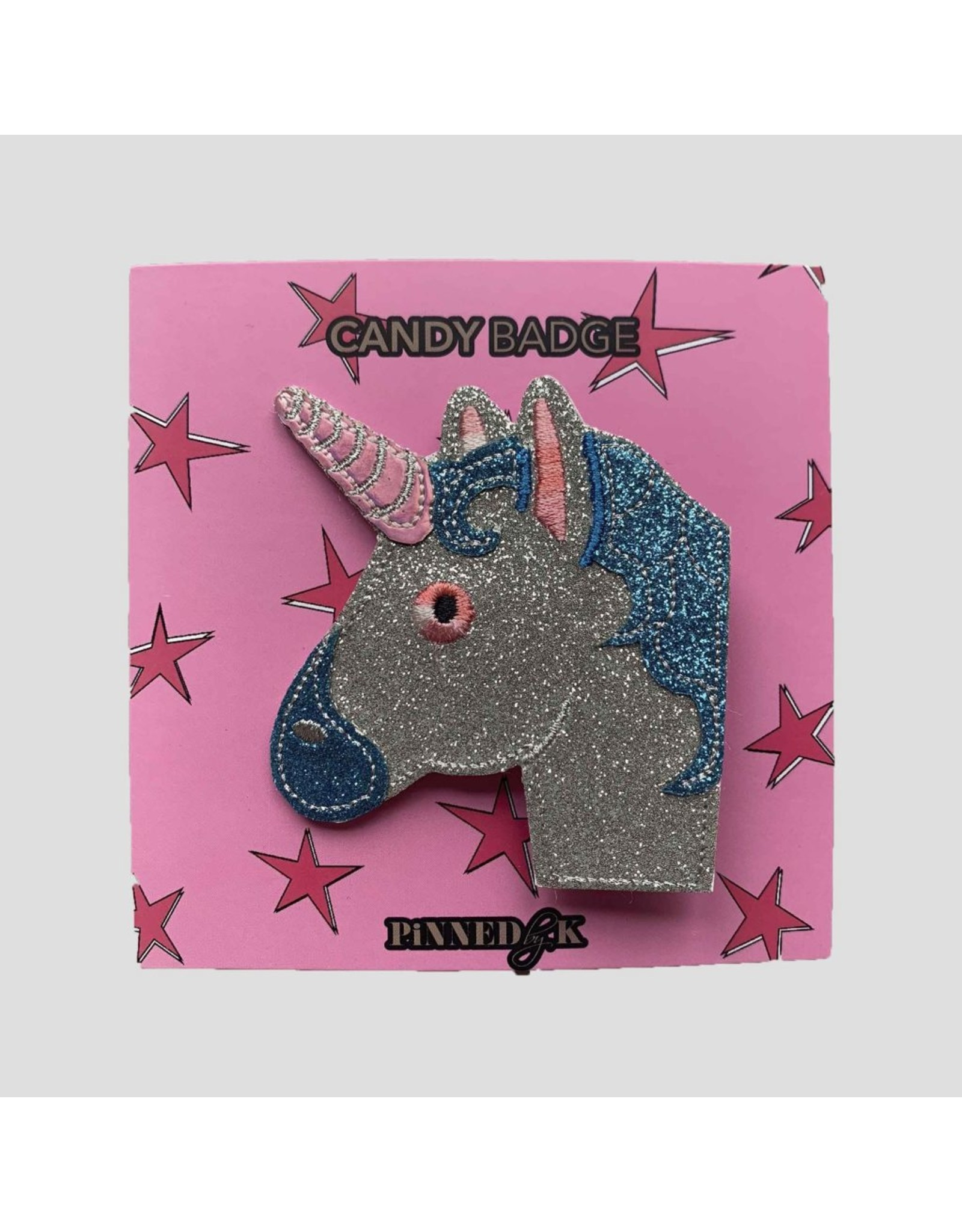 Pinned by K Pinned by K Candy Badge Unicorn Sparkle Multicolor