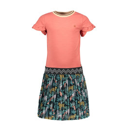 Like Flo Like Flo Girls Jersey Ruffle Dress With AO Plisse Skirt Blush